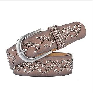 LUKEEXIN Women European and American Style Rivet Water Drill Belt Wide Lady's Trousers Waist Belt (Color : Brown)