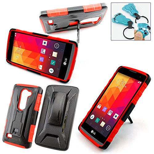 Customerfirst - For LG Leon LTE / Power L22C (TracFone / NET10) / Destiny L21G (StraightTalk) Case, Dual Layer Armor Protector Slim Hybrid Armor Case for For LG Leon LTE Case / LG Power L22C (Straight Talk / METRO PCS / T-MOBILE / TracFone) - Free Flash Light Key Chain (ASYMNA RED)