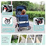 IREENUO Pet Trolley Cart, 4 Wheels Foldable Pram for Cat Dog, 360° Rotation Front Wheel Pet Travel Stroller, Quick Folding, Max Loading 30kg - Blue 11