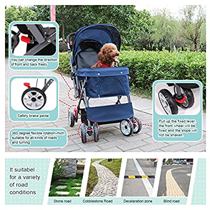Wooce Pet Four-wheeled Reversible Trolley Cats Dogs Carts Shockproof Durable Stroller Adjustable Direction,One-click Folding,Quick Installation,Suitable For Travel(Blue) 4