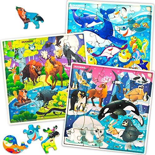 Puzzle ab 4 5 6 Jahre - 3 x 30 Teile Kinder Holz Steckpuzzle und Spielzeug für Lernspiele - Geschenk Kinderspielzeug für Mädchen and Junge 7 8