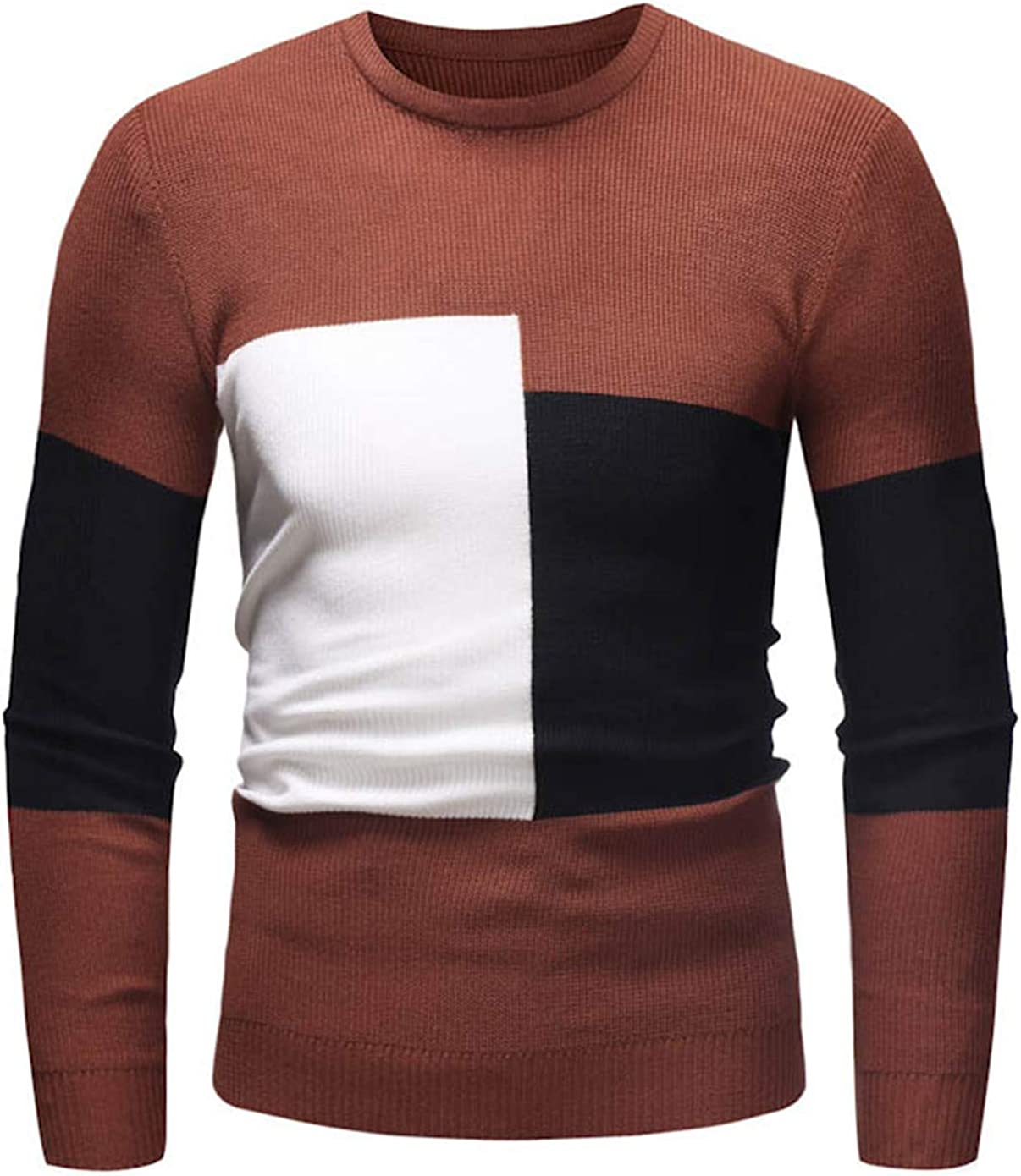 Soluo Men's Casual Stripe Pullover Cotton Crew Neck Sweaters Assorted Color Knitwear (Brown,Medium)