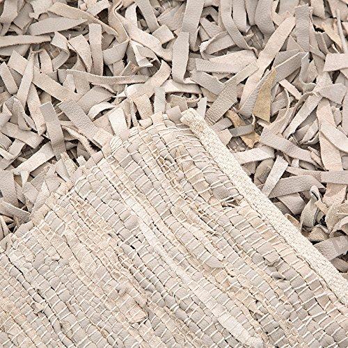 DESIGN DELIGHTS FRANSEN Teppich LJUS | Leder, 200x140cm, Sand | Vorleger