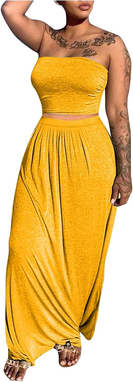 Women Floral Crop Top Maxi Skirt Two Piece Side Split Long Maxi Dresses