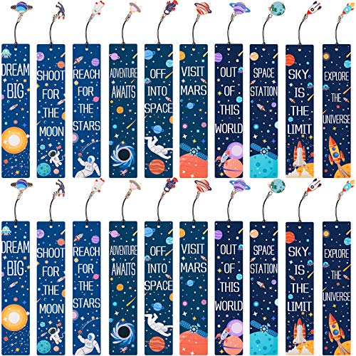 20 Sets Space Theme Bookmarks with Metal Charms Planetary Colorful Bookmarkers Inspirational Quotes Bookmarker for Men and Women Boys Girls