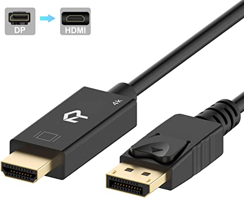 Rankie DisplayPort (DP) to HDMI Cable, 4K Resolution Ready, 6 Feet, Black