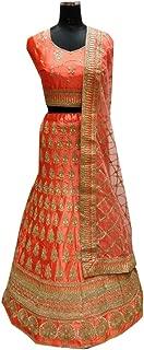 SHRI BALAJI 8979 Orange Indian Hit Latest Silk Lehenga Choli Abaya Pakistani Heavy Embroidery work Bridal wedding Party Wear Ethnic Women Girls Semi stitched