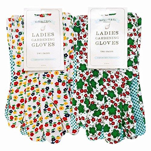 LR Fournitures – Mesdames gants de jardinage Motif floral (Lot de 2 paires)