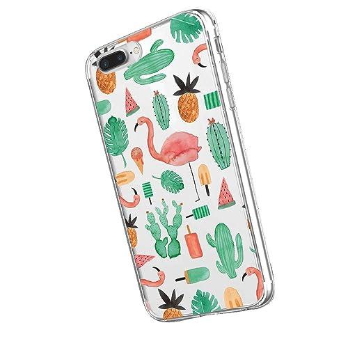 Inonler Cute Flamingos Cactus Pineapple Habits Pattern Soft and transparent case(iPhone 5/5S/SE,Multi-coloured)