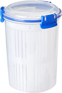 Sistema KLIP IT Round Food Storage Container with Straining Basket, Blue Clips, 1 Litre