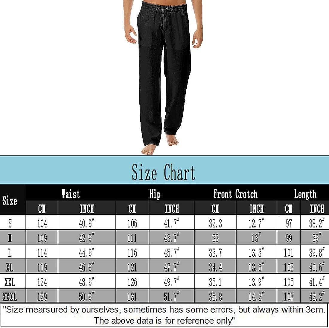 WZIKAI Man's Causal Linen Pants Lightweight Cotton Summer Trousers Elastic Waist Drawstring Lounging Pant