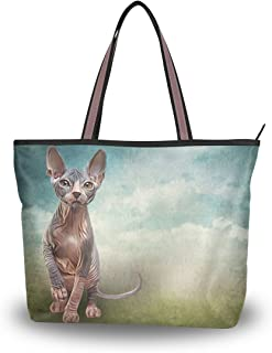 ALAZA Tote Schultertasche Sphynx Kätzchen-Katzen-Handtasche Groß
