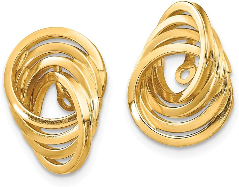 14k Yellow Gold Love Knot Earring Jackets - 14mm x 10mm