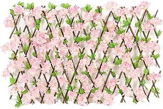 Valla de madera, valla de expansión, valla telescópica, hojas verdes, flores de cerezo, valla, instalación vertical, instalación horizontal, protector de privacidad, instalación fácil, adornos