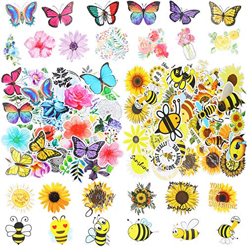 Zonon 200 Pieces Mixed Butterfly Honeybee Flower Vinyl Stickers Sunflower Waterproof Laptop Stickers for Water Bottles Luggage Skateboard Guitar Bike Car Decoration Stickers for Adults Teens Kids