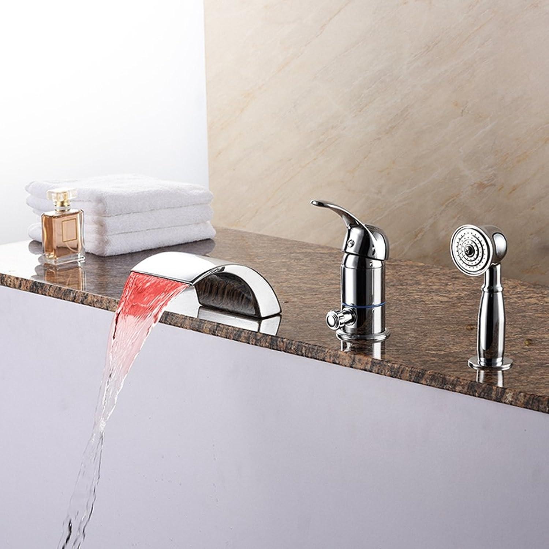Ledu Badewannen-Wasserhahn, Moderner LED-Wasserfall-Bade Mischer-Hahn Mit Hand Dusche, Warm-Und Kaltwasserhahn