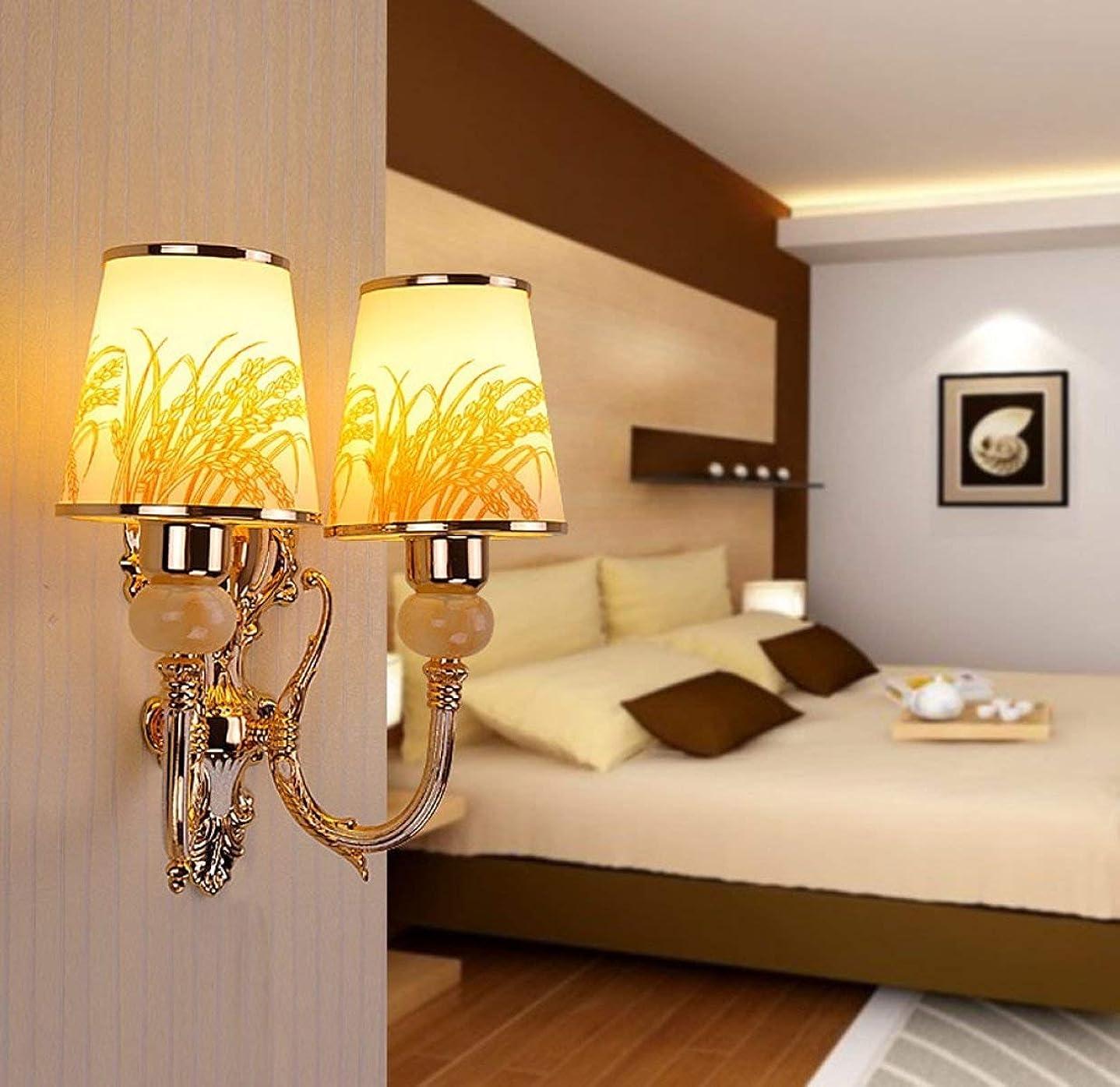 続編防水慣れているBXJ 現代のシンプルな鉄の壁ランプガラスの壁ランプシングルヘッド/ダブル壁ランプの寝室の壁ランプE27光源 (Color : B)
