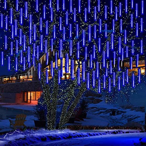 KINGCOO LED Météore Douche Solaire Lumineux Jardin, Etanche Goutte d'eau Chute Cascading 30cm 10 Tubes 360LEDs Décoratif Guirlandes Lumières pour Fête Vacances Noël Décorat(Bleu)