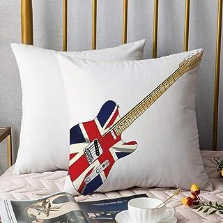 Bedding Fundas de Almohada ,Union Jack, Guitarra eléctrica clásica Bandera del Reino Unido Gran Bretaña Instrumento musicaAlmohada cómodo Sofá rectángulo Funda de Cojín Decoración para El Hogar45x45cm