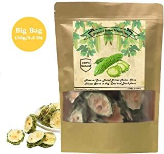 Organic Bitter Melon, Bitter Melon Tea - Caffeine-Free, GMO-Free (150g/5.3 Oz) Dried 100% Natural (KuGua 苦瓜茶) Chinese Herbal Dried Bulk Herbs Loose Slice Bitter Melon Fruit Tea