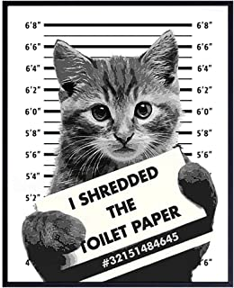 Signs for Home Funny bathroom art Bathroom poster Funny cat You Drop It Flush It poster Funny kitty print Printable Wall Art