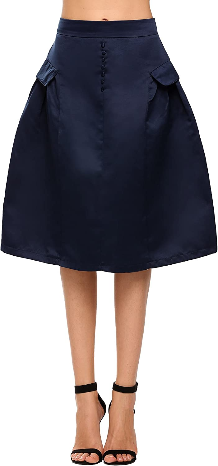 ANGVNS Women's A Line Knee Length Skirt Button Down Details Decorated Pocket