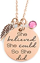 ''She Believed She Could So She Did'' Inspirational Mantra Sayings Quote Pendant Charm Necklace, Encouragement Jewelry Gift for Girls, Teens, Women