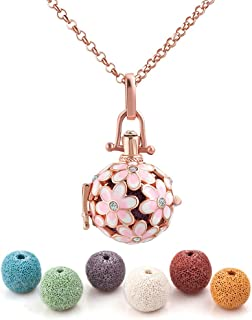 Heart of Charms Flower Lava Stone Heart Aromatherapy Essential Oil Diffuser Necklace Antique Locket Pendant and 6 Cashmere Sustained Release Ball