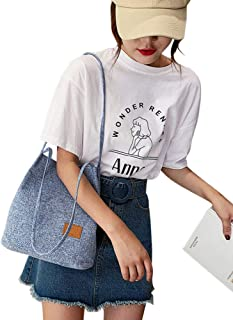 Ronshin Fashion Women Canvas Magnetic Buckle Bucket Shoulder Bag for Shopping Dating Picknick