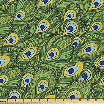 Ambesonne Vintage Tribal Fabric by The Yard Peacock Feather in Cartoon Style Decorative Fabric for Upholstery and Home Accents 1 Yard Fern Green