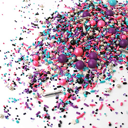 Milky Way Sprinkle Mix | Galaxy | Space | Pink and Purple | Black and Silver | New Year's Sprinkles, 4OZ