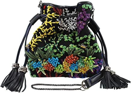 80d22ef21 MARY FRANCES Down Under Embroidered Ocean Life Theme Mini Drawstring Handbag