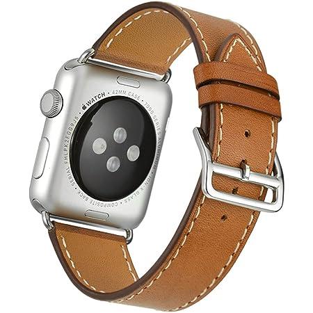 Apple Watch Band Wollpo® 本革 交換バンド 高級 レザー ビジネス用 腕時計ベルト Real Leather Watchband for Apple WatchApple Watch 本革 交換バンド 高級 レザー ビジネス用 腕時計ベルト Real Leather Watchband for Apple Watch (38mm, 褐色)
