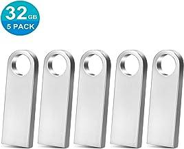 TPSON 32GB Memorias USB 5 Piezas Mini USB Stick Metal Pendrive 32GB Memoria Flash con Colgante Almacenamiento de Datos Externo, Plata
