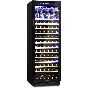 Klarstein Vinovilla Onyx Grande - Cave à vin, Porte vitrée panoramique, Eclairage intérieur tricolore, 165 bouteilles de vin, Ecran tactile, Porte-verres à vin intégré, Capacité de 433L, Noir