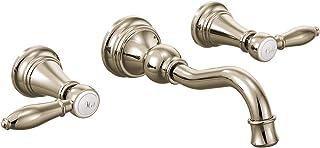 Moen TS42106NL Weymouth Two-Handle High Arc Wall Mount Bathroom Faucet, Nickel