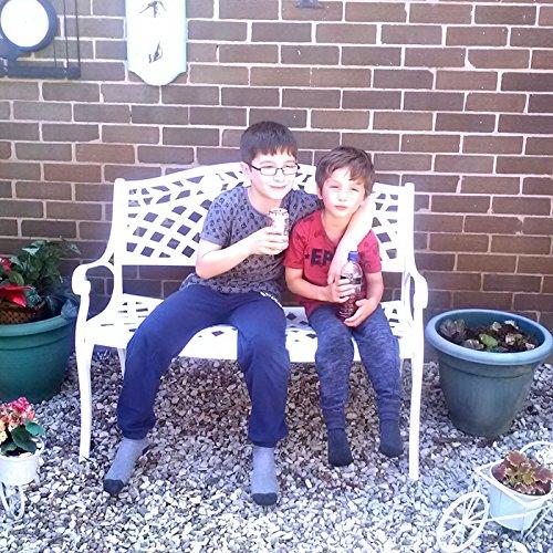 Lazy Susan – CLAIRE Rechteckiger Garten Beistelltisch mit 1 ROSE Gartenbank – Gartenmöbel Set aus Metall, Weiß - 5