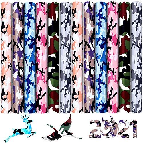 Souarts Plotterfolie Textil, A4 Vinylfolie Transferpapier zum Aufbügeln Plotter, Wärmeübertragungsfolie Plotter für DIY T-Shirt Textil Handwerk Leder 30cmx25cm (Camouflage 12PCS)