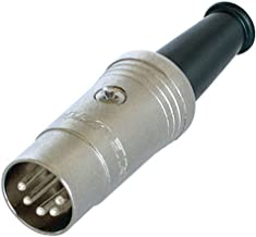 Rean (a Brand Of Neutrik Ag) 5 Pin Din Plug Nickel Finish With Rubber Boot