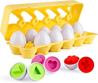 Mumoo Bear Matching Eggs 12 pcs Set Color & Shape Recoginition Sorter Puzzle for Easter Travel Bingo Game Early Learning E...