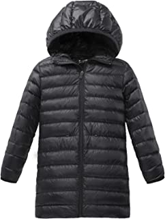 Girl's Long Lightweight Hood Down Jacket Packable Winter Coat