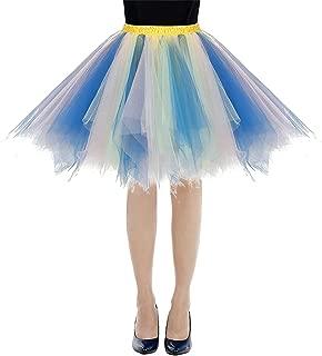 Womens Rainbow Tutu Skirt Layered Tulle Skirt Adult Halloween Costumes