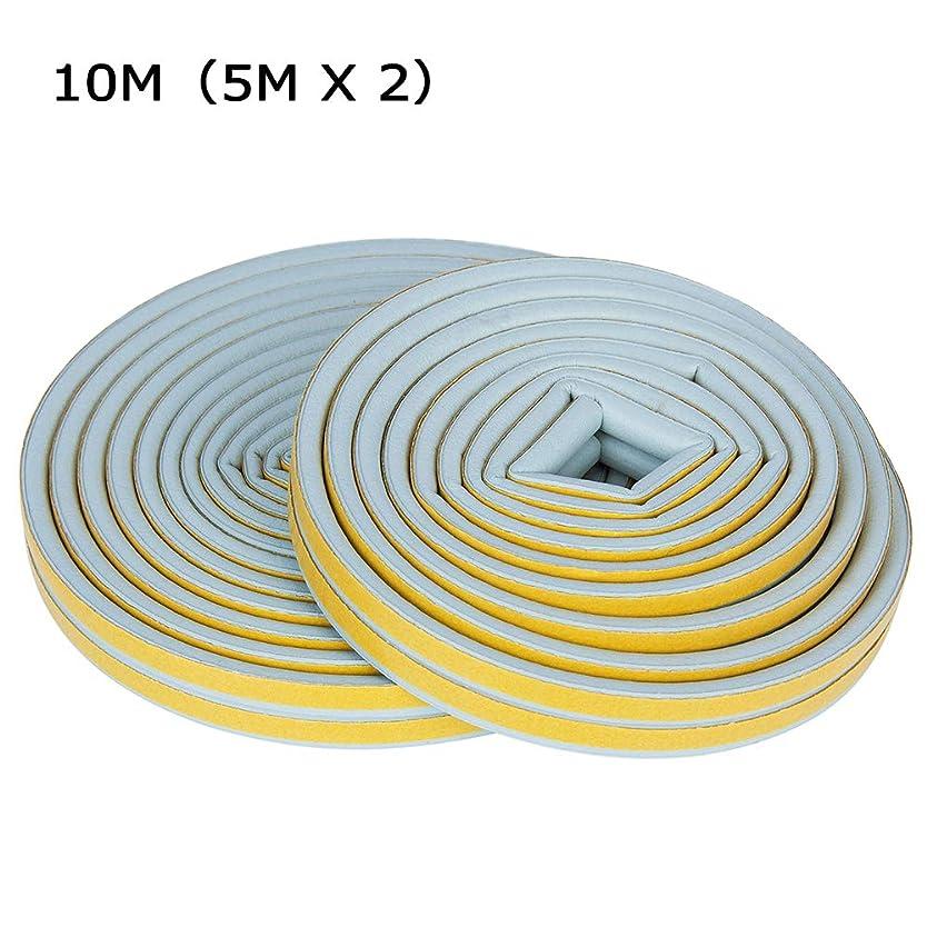 微生物老人侵入隙間テープ ドア すきまドア 玄関 気密 テープ 戸あたり 冷気ブロック シールストリップ 風防止 防音 防風 防虫 強力粘着 自動ドア D型 5M×2本 全長10M (グレー)