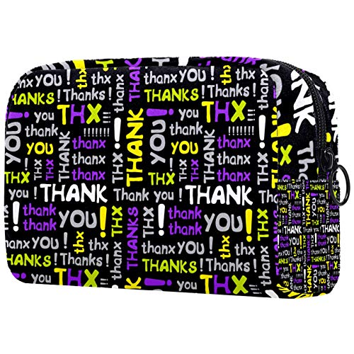Kosmetiktasche Make-up Taschen für Frauen, Kleine Make-up Tasche Reisetaschen für Toilettenartikel - Lila Gelb Danke, gekreuzte Worte