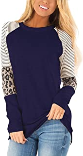 HARHAY Women's Leopard Print Color Block Tunic Round Neck Long Sleeve Shirts Striped Causal Blouses Tops