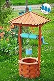 Holz Brunnen, klassische Gartenbrunnen ca. 160-170 cm, einstöckig EXP160-hbl-OS HELLBLAU KLASSIK MIT Rolle & Eimer , voll funktionstüchtig,schöne Details, Metallkette Deko-Brunnen...