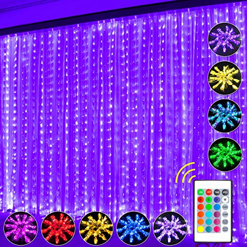 Curtain String Light, LED Fairy Lights Curtain 16 Color 4 Modes Shows with Remote & Timer, 300 RGB USB Powered Waterproof Fairy Twinkle Lights for Wedding Party Garden Bedroom Outdoor Wall Decoration