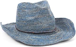 ale by Alessandra Womens Cassidy Cassidy Raffia Cowboy Hat with Beaded Trim and Memory Wire Brim Cowboy Hat