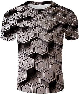 تي شيرت رجالي برسومات رقمية ثلاثية الأبعاد مطبوع عليه أصالة قميص رياضي كاجوال قصير الأكمام برقبة مستديرة