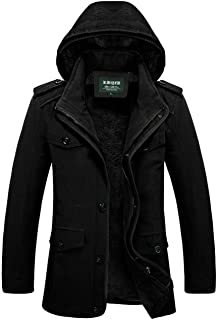 JEWOSOR Mens Winter Parka Jacket Removable Hooded Coat Raincoat Trench